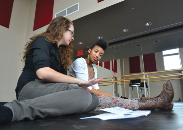 Photo courtesy of Justin Tyler Jennie Kuhn (left) and La'Shante Cox rehearse for Ricochet. The performance for the public is Thursday, April 17 at 8:30 p.m.