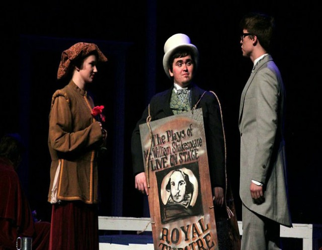 """Photo courtesy of Andrew Tran  Clara Kiss, Jordan Gagan and Dustin Brinker practice a scene during a dress rehearsal. """"The Picture of Dorian Gray"""" had a successful opening on Oct. 1 to the Ursinus and Collegeville communities."""