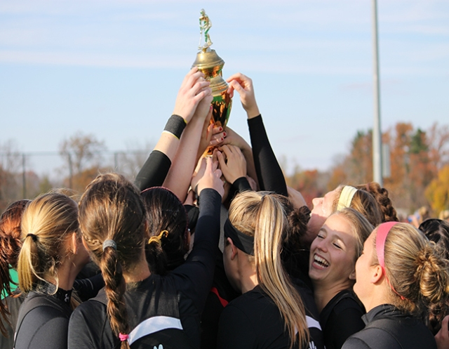 Photo courtesy of Jon Vander Lugt The field hockey team is seen here hoisting the Centennial Conference championship trophy after their win over Franklin and Marshall. The Bears face a possible rematch with the Dips in the upcoming NCAA tournament, should 17-2 F&M beat 6-13 Regis College (MA).