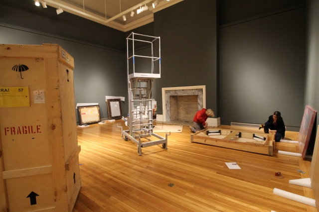 Berman Installation - Photo courtesy of Alexis Primavera. On Wed. 21, the Berman staff worked diligently to begin the installation process of their latest exhibition, Museum Studies.