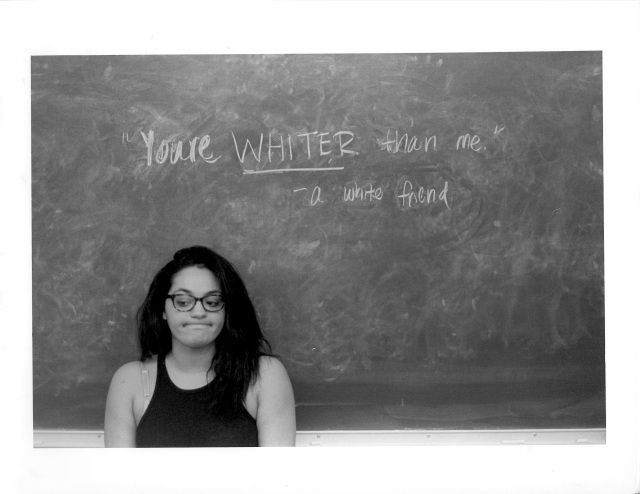 Photo courtesy of Kayla O'Mahoney  Pictured above is Dayana Suncar '18, who was featured in Kayla O'Mahoney's photo series about micro-agressions.  O'Mahoney '18 created the photo series for her black and white film photography course last semester.
